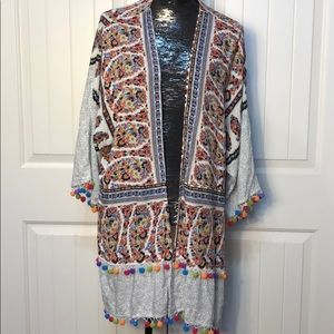 Umgee Long Shake Your Pom-poms Kimono S/M